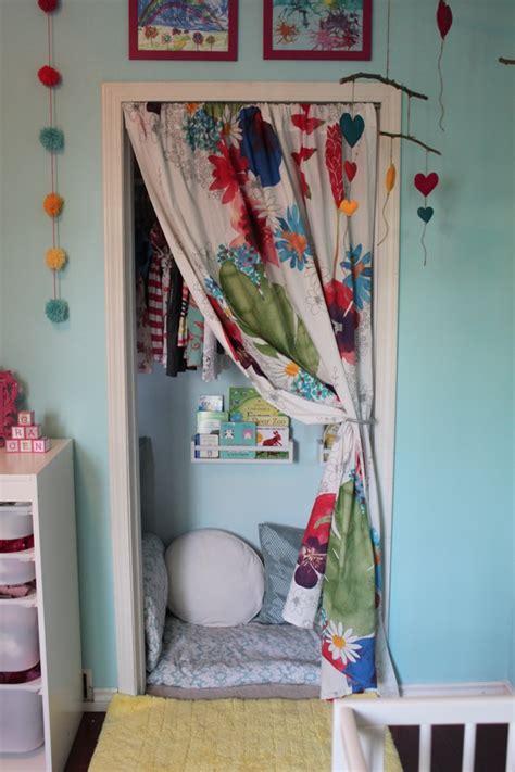 Book Closet Design by Nursery Closet Storage Space Turned Cozy Book Nook