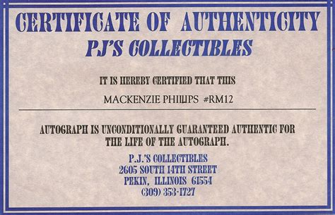 certificate of authenticity autograph template sle