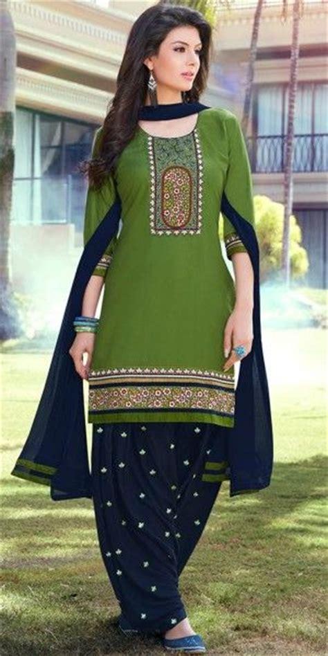 vibrant green  navy blue cotton patiala suit