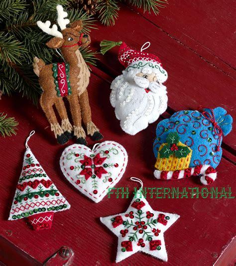nordic santa 6 pce bucilla felt christmas ornament kit