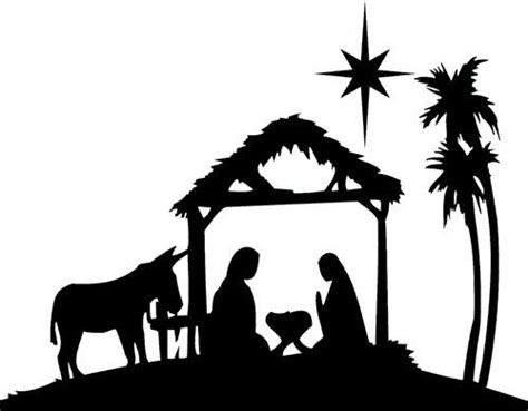 Xmas Die Cut Silhouette Nativity And Donkey X 6 Card Making Craft Ebay Nativity Silhouette Template