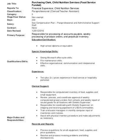 purchasing clerk description sle 9 exles in word pdf