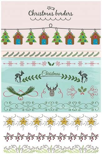 christmas borders  dividers cute vector collection