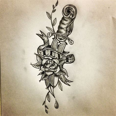 rose tattoo with scroll dagger scroll sketch by ranz