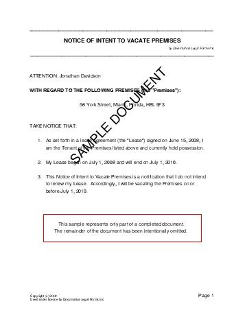 Letter Of Intent Template Nz notice of intent to vacate premises new zealand templates agreements contracts and