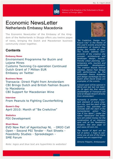Embassy Newsletter economic newsletter netherlands embassy skopje