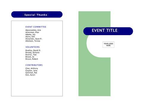 Event Program Half Fold 4 Pages School Event Program Template
