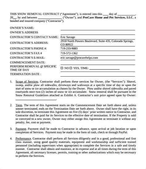 snow plowing contract template 7 download free
