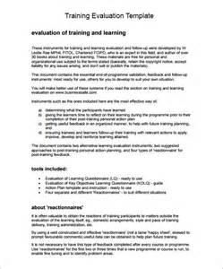 training evaluation form sample 8 free examples amp format