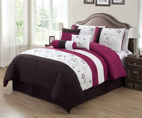 7 piece gardenia embroidered comforter set