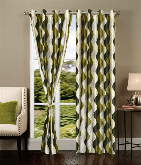 cream green curtains vugis cream green stripes polyester door curtain set of