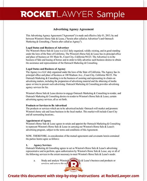 advertising agency agreement contract sle template
