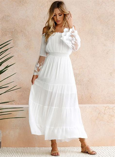 s shoulder flare sleeve lace panel maxi dress