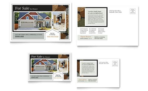 suburban real estate postcard template design