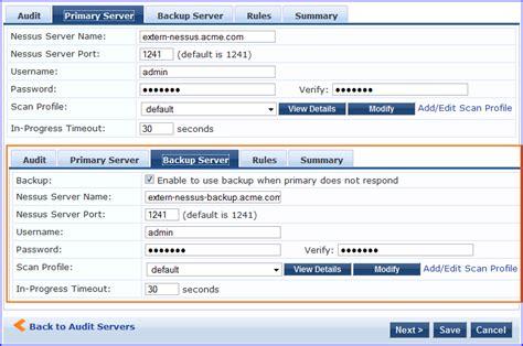 default nessus port nessus audit server