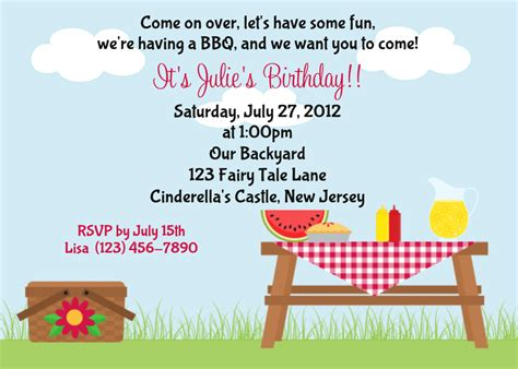 items similar to picnic invitation personalized custom