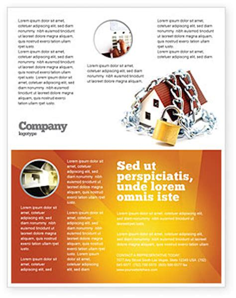 Home Security Flyer Template Background In Microsoft Word Publisher And Illustrator Formats Security Company Flyer Template