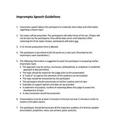 speech templates sle impromptu speech template 7 free documents in