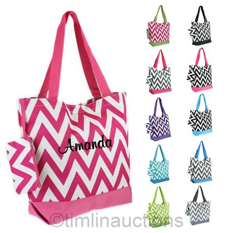chevron personalized tote bag monogram bride bridesmaid