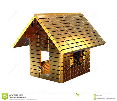 House Made Of Gold | expensive house concept stock illustration image 69015959