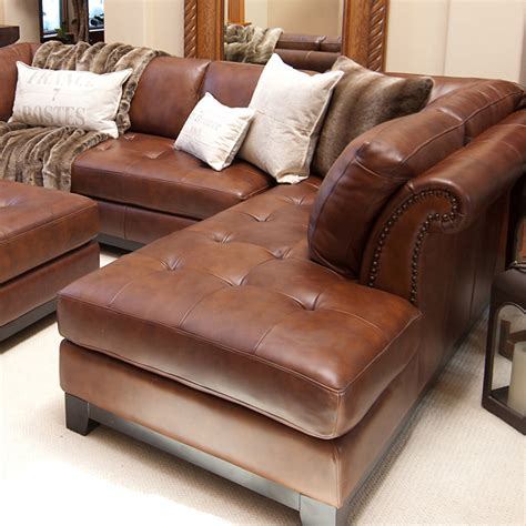 Leather Sofa Chaise Sectional Corsario Leather Sectional With Right Facing Chaise And Ottoman Dcg Stores