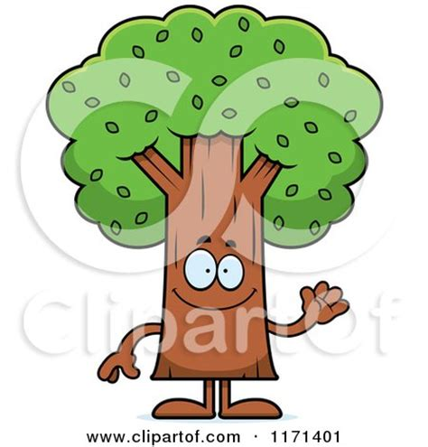 cartoon of a waving tree mascot royalty free vector