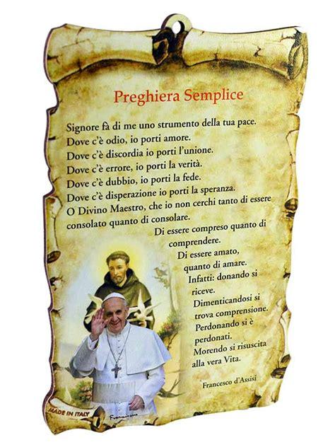 preghiera semplice testo tavoletta sagomata preghiera semplice con immagine di papa