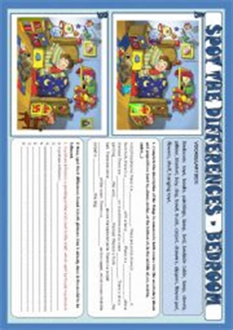 english worksheets spot  differences bedroom