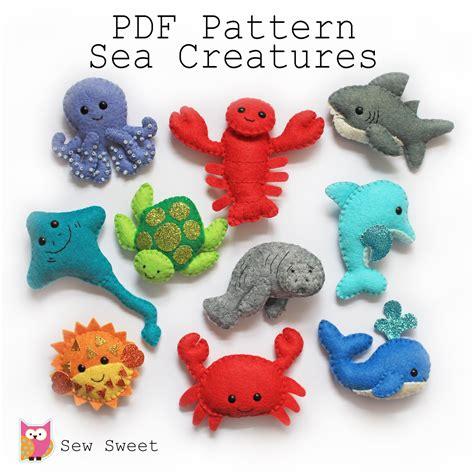 pattern of felt sea creatures felt softies pdf pattern sew sweet instant