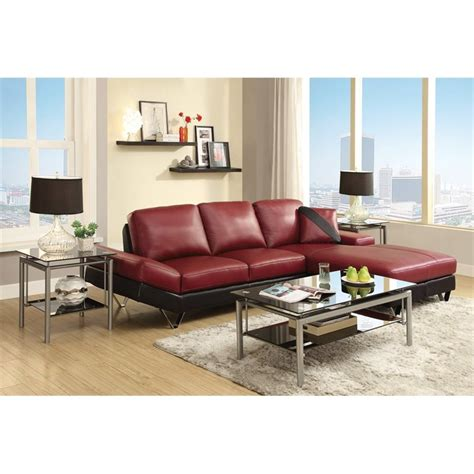 black and red sectional viceroy black and red leather sectional by coaster 503491