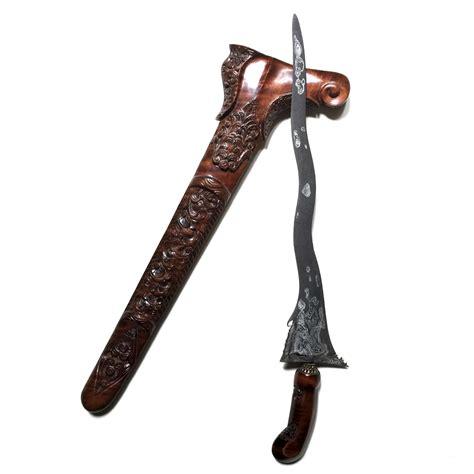 Keris Klabang Sakyutho Luk 9 keris kebo teki luk 5 with pamor wos wutah made in the tangguh tuban era 14th century ce