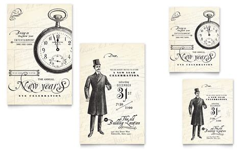 vintage templates for word vintage new year s party note card template word publisher
