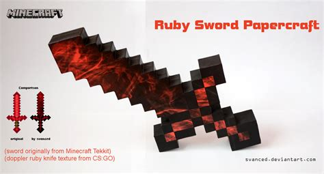 Minecraft Sword Papercraft - minecraft ruby sword papercraft 1 by svanced on