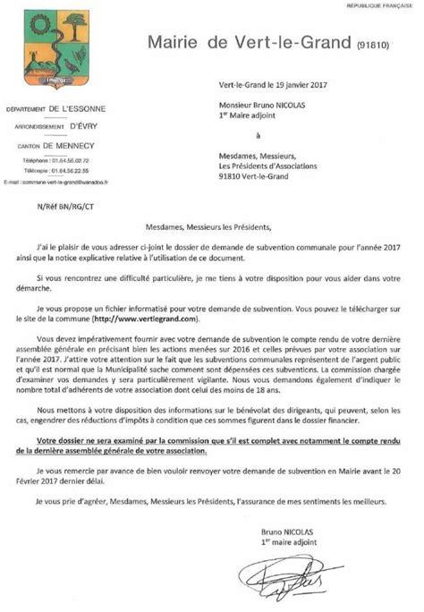 Demande De Subvention Lettre Demande De Subventions 2017 Mairie De Vert Le Grand