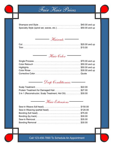 business price list template price list templates