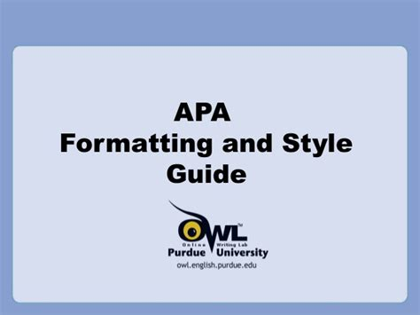 Purdue Owl Apa Style Guide Apa Format For Powerpoint