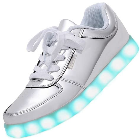 lighting sneakers usb charging led light up shoes sneakers silver