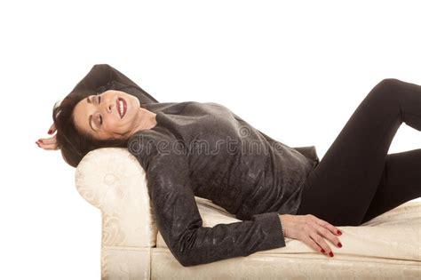 lay bench gray jacket woman lay bench sleep royalty free stock