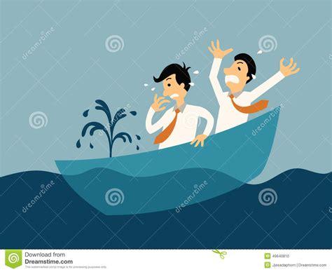 boat cartoon sinking sinking boat stock vector illustration of problem help
