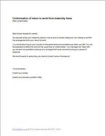 maternity leave return letter template exle