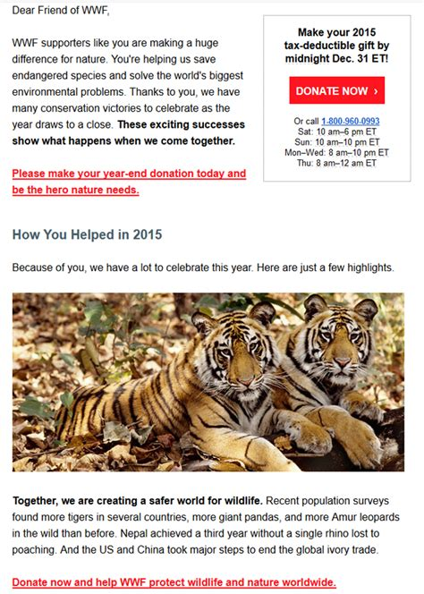 wwf charity letter 100 year end appeal letters year end donations help