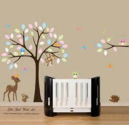 baby nursery decor colorful leaves baby wall stickers for