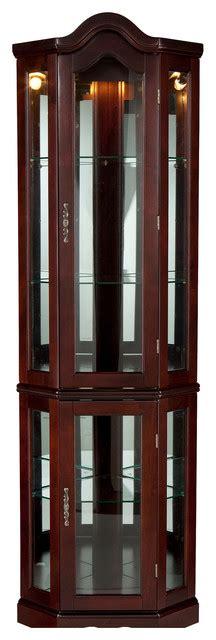southern enterprises machellen mahogany lighted corner curio cabinet corner lighted curio cabinet mahogany walmartcom