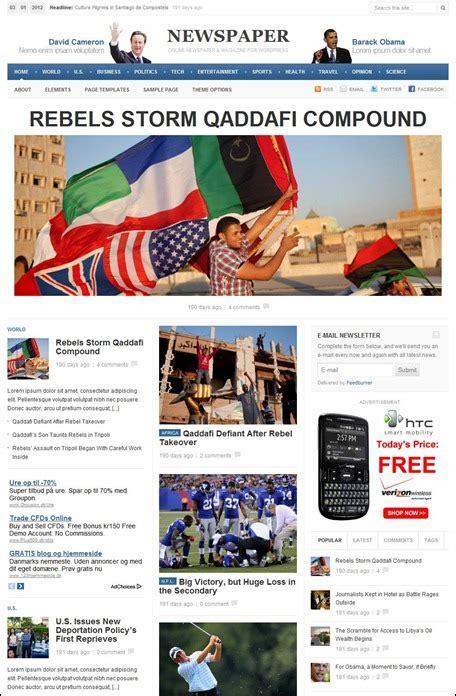 newspaper theme junkie temi wordpress 2012 in stile blog per il vostro sito