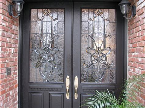 Beveled Glass Front Entry Doors Craftsman Traditional Leaded Beveled Stained Glass Entry Doors Side Lites Traditional