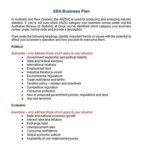 small business plan template word sle sba business plan template 9 free documents in