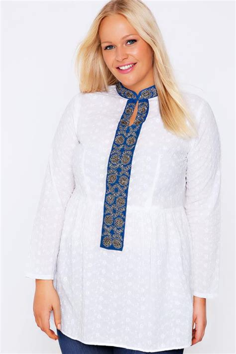 Blouse Floral Blue Preloved white blue floral embroidered smock blouse plus size 16 to 32