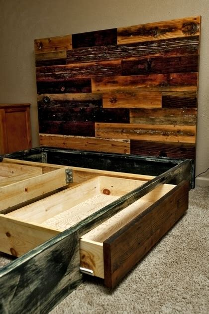 Reclaimed Wood Platform Bed With Storage by Pallet Reclaimed Wood King Headboard Platform Bed
