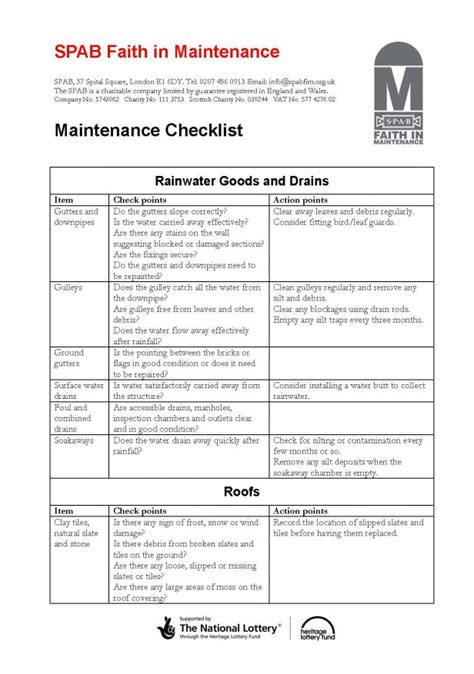 Apartment Groundskeeper Checklist Maintenance Checklist For Buildings Images
