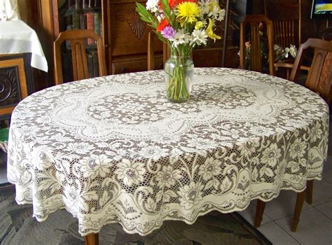 Oval Table Cloths by Vintage Quaker Lace Cloth Oval Tablecloth Cottage Decor Table